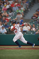 Brooklyn Cyclones Raul Beracierta (25) bats during a NY-Penn League game against the Tri-City ValleyCats on August 17, 2019 at MCU Park in Brooklyn, New York.  Brooklyn defeated Tri-City 2-1.  (Mike Janes/Four Seam Images)