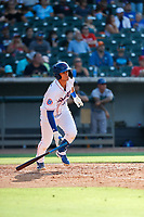 Tennessee Smokies third baseman Chase Strumpf (19) belts a home run against the Rocket City Trash Pandas at Smokies Stadium on July 2, 2021, in Kodak, Tennessee. (Danny Parker/Four Seam Images)