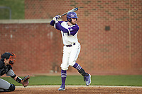 Nick Niarchos (19) of the High Point Panthers at bat against the Campbell Camels at Williard Stadium on March 16, 2019 in  Winston-Salem, North Carolina. The Camels defeated the Panthers 13-8. (Brian Westerholt/Four Seam Images)