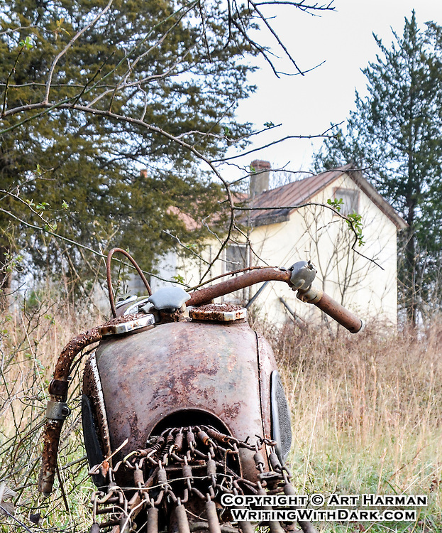 """""""The Last Mile"""" by Art Harman. This old motorcycle by an abandoned home caught my eye, and it seemed the motorcycle had come home for good."""