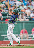 9 July 2015: Vermont Lake Monsters infielder Richie Martin is hit by a pitch during a game against the Mahoning Valley Scrappers at Centennial Field in Burlington, Vermont. The Lake Monsters rallied to tie the game 4-4 in the bottom of the 9th, but fell to the Scrappers 8-4 in 12 innings of NY Penn League play. Mandatory Credit: Ed Wolfstein Photo *** RAW Image File Available ****