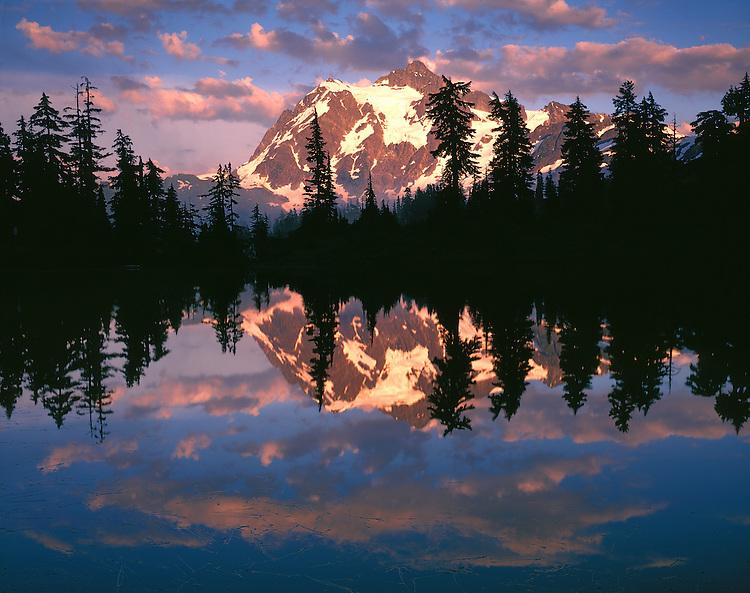 Sunset light on Mt. Shuksan reflected in Highwood Lake; Mt. Baker/Snoqualmie National Forest, WA