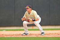 Wake Forest Demon Deacons third baseman Stephen Schoettmer #13 on defense against the North Carolina State Wolfpack at Doak Field at Dail Park on March 17, 2012 in Raleigh, North Carolina.  The Wolfpack defeated the Demon Deacons 6-2.  (Brian Westerholt/Four Seam Images)