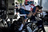 Ryan Mullen (IRE/Trek-Segafredo) warming up for the iTT<br /> <br /> 91st Baloise Belgium Tour 2021 (BEL/2.Pro)<br /> Stage 2 (ITT) from Knokke-Heist to Knokke-Heist (11.2km)<br /> <br /> ©kramon