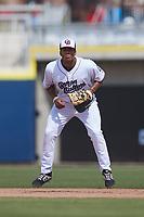 Kannapolis Cannon Ballers first baseman Jayson Gonzalez (32) on defense against the Lynchburg Hillcats at Atrium Health Ballpark on August 29, 2021 in Kannapolis, North Carolina. (Brian Westerholt/Four Seam Images)