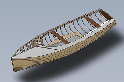 A computer render of the traditional clinker built IDRA 14 dinghy hull