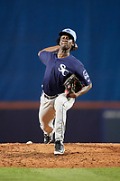 Charlotte Stone Crabs relief pitcher Deivy Mendez (34) delivers a pitch during the first game of a doubleheader against the St. Lucie Mets on April 24, 2018 at First Data Field in Port St. Lucie, Florida.  St. Lucie defeated Charlotte 5-3.  (Mike Janes/Four Seam Images)