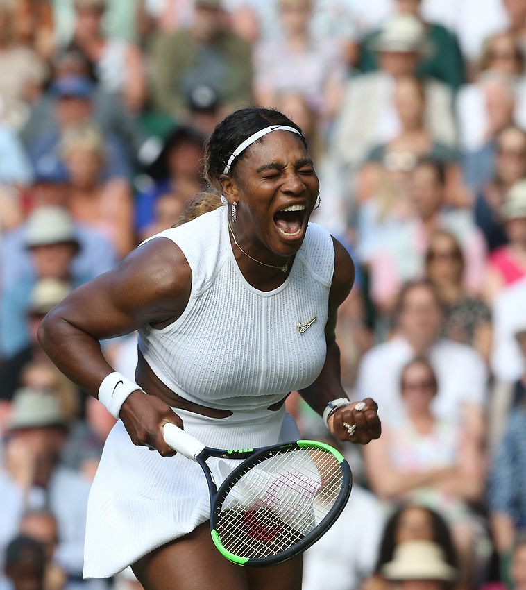 Serena Williams (USA) celebrates during her match against Giulia Gatto-Monticone in their Ladies' Singles First Round match<br /> <br /> Photographer Rob Newell/CameraSport<br /> <br /> Wimbledon Lawn Tennis Championships - Day 2 - Tuesday 2nd July 2019 -  All England Lawn Tennis and Croquet Club - Wimbledon - London - England<br /> <br /> World Copyright © 2019 CameraSport. All rights reserved. 43 Linden Ave. Countesthorpe. Leicester. England. LE8 5PG - Tel: +44 (0) 116 277 4147 - admin@camerasport.com - www.camerasport.com