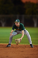 Sean McCann (44), from Ripon, California, while playing for the Athletics during the Under Armour Baseball Factory Recruiting Classic at Gene Autry Park on December 27, 2017 in Mesa, Arizona. (Zachary Lucy/Four Seam Images)