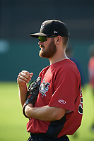 Tri-City ValleyCats Connor MacDonald (39) during practice before a game against the Batavia Muckdogs on July 15, 2017 at Dwyer Stadium in Batavia, New York.  Tri-City defeated Batavia 5-4.  (Mike Janes/Four Seam Images)