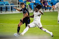 SAN JOSE, CA - SEPTEMBER 05: Chris Wondolowski #8 and Lalas Abubakar #6 battle for the ball during a game between Colorado Rapids and San Jose Earthquakes at Earthquakes Stadium on September 05, 2020 in San Jose, California.