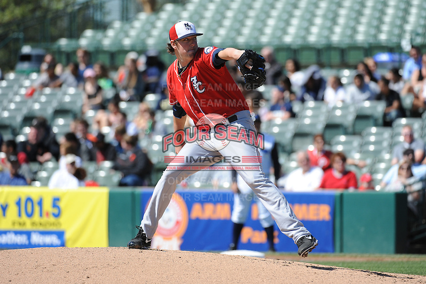 New Hampshire Fisher Cats pitcher Deck McGuire (31) during game against the Trenton Thunder at ARM & HAMMER Park on May 2, 2013 in Trenton, NJ.  Trenton defeated New Hampshire 2-1.  Tomasso DeRosa/Four Seam Images