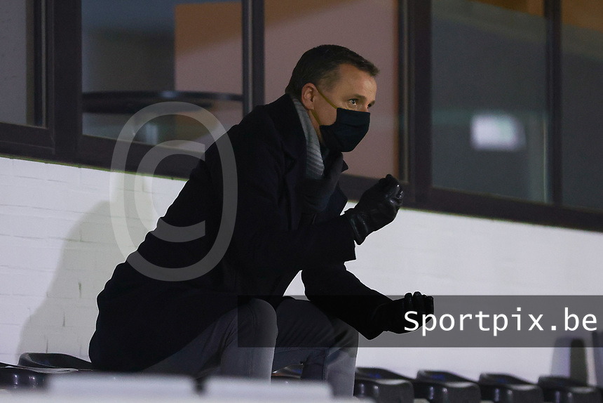 Belgian national team's head coach Yves Serneels pictured before a female soccer game between Oud Heverlee Leuven and Standard Femina De Liege on the 10th matchday of the 2020 - 2021 season of Belgian Womens Super League , sunday 20 th of December 2020  in Heverlee , Belgium . PHOTO SPORTPIX.BE | SPP | SEVIL OKTEM