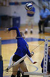 Marymount's Hannah Steger hits during a college volleyball match at Washington & Lee University Lexington, Vir., on Saturday, Oct. 5, 2013.<br /> Photo by Cathleen Allison
