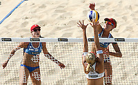 Campionati mondiali di beach volley a Roma, 14 giugno 2011..Jennifer Kessy, left, and April Ross, right,  of the United States, in action against Czech Republic'a Hana Klapalova, during the Beach Volleyball World Championship in Rome, 14 june 2011..UPDATE IMAGES PRESS/Riccardo De Luca