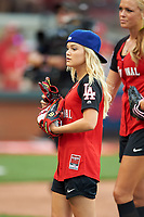 Olivia Holt before the All-Star Legends and Celebrity Softball Game on July 12, 2015 at Great American Ball Park in Cincinnati, Ohio.  (Mike Janes/Four Seam Images)