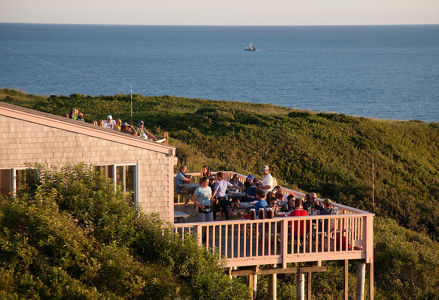 The Aquinnah Restaurant sits on the cliffs of Gay Head, overlooking the Vineyard Sound, on the island of Martha's Vineyard.