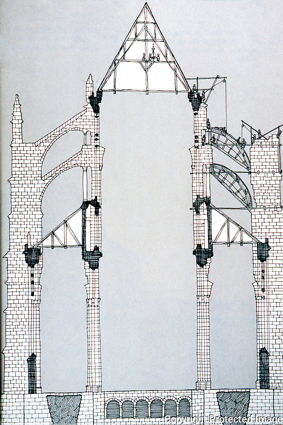 Visual Arts:  Gothic Cathedral--Cross-section.  David Macauley, Cathedral; THE STORY OF ITS CONSTRUCTION. Photo '87.