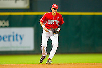 Shortstop Chase Jensen #17 of the Houston Cougars on defense against the Texas A&M Aggies at Minute Maid Park on March 6, 2011 in Houston, Texas.  Photo by Brian Westerholt / Four Seam Images