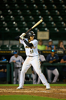 Bradenton Marauders Dariel Lopez (52) bats during Game One of the Low-A Southeast Championship Series against the Tampa Tarpons on September 21, 2021 at LECOM Park in Bradenton, Florida.  (Mike Janes/Four Seam Images)