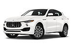 Stock pictures of low aggressive front three quarter view of a 2020 Maserati Levante S 5 Door SUV