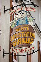 Europe/France/Bourgogne/89/Yonne/Chablis: Détail enseigne d'un vigneron