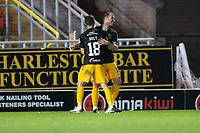 2nd October 2020; Tannadice Park, Dundee, Scotland; Scottish Premiership Football, Dundee United versus Livingston; Matej Poplatnik of Livingston celebrates at the end of the match with Jason Holt