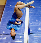 February 19, 2021: Long Island's Amanda Loo compete's on the beam during the 2nd Annual George McGinty Alumni Meet at the SECU Arena at Towson University in Towson, Maryland. Scott Serio/Eclipse Sportswire/CSM
