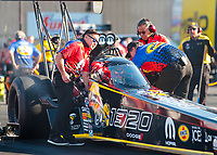Jul 19, 2019; Morrison, CO, USA; Crew members for NHRA top fuel driver Leah Pritchett during qualifying for the Mile High Nationals at Bandimere Speedway. Mandatory Credit: Mark J. Rebilas-USA TODAY Sports
