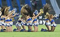 BOGOTA - COLOMBIA -16 -07-2017: Porristas de Millonarios animan a su equipo durante el encuentro entre Millonarios y Independiente Santa Fe por la fecha 2 de la Liga Aguila II 2017 jugado en el estadio Nemesio Camacho El Campin de la ciudad de Bogota. / Cheerleaders of Millonarios cheer for their team during match between Millonarios and Independiente Santa Fe for the date 2 of the Liga Aguila II 2017 played at the Nemesio Camacho El Campin Stadium in Bogota city. Photo: VizzorImage / Gabriel Aponte / Staff.