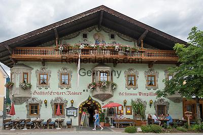 Austria, Tyrol, holiday region Kaiserwinkl, Koessen: Inn Archduke Rainer at village centre   Oesterreich, Tirol, Ferienregion Kaiserwinkl, Koessen: Gasthof Erzherzog Rainer im Ortszentrum