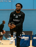 Lovell Cook of Surrey Scorchers warms up during the BBL Championship match between Surrey Scorchers and Newcastle Eagles at Surrey Sports Park, Guildford, England on 20 March 2021. Photo by Liam McAvoy.