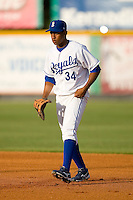 First baseman Diego Cruz #34 of the Burlington Royals on defense versus the Kingsport Mets at Burlington Athletic Park July 3, 2009 in Burlington, North Carolina. (Photo by Brian Westerholt / Four Seam Images)