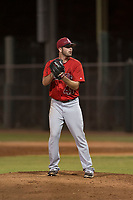 AZL Angels relief pitcher Adam Hofacket (47) prepares to deliver a pitch in a rehab appearance during an Arizona League game against the AZL Giants Black at the San Francisco Giants Training Complex on July 1, 2018 in Scottsdale, Arizona. The AZL Giants Black defeated the AZL Angels by a score of 4-2. (Zachary Lucy/Four Seam Images)