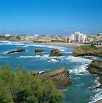 France, Aquitaine (Pays Basque), Biarritz: View over to Grande Plage Beach | Frankreich, Aquitanien (Baskenland), Biarritz: Blick zum Grande Plage