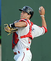 Catcher Blake Swihart (10) of the Greenville Drive prior to a game against the Augusta GreenJackets on April 19, 2012, at Fluor Field at the West End in Greenville, South Carolina. Swihart was a first-round pick (26th overall) by the Boston Red Sox in the 2011 First-Year Player Draft. (Tom Priddy/Four Seam Images)