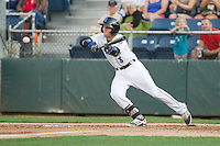 Jordan Cowan #3 of the Everett AquaSox attempts to lay down a bunt during a game against the Salem-Keizer Volcanoes at Everett Memorial Stadium in Everett, Washington on July 14, 2014.  Salem-Keizer defeated Everett 6-4.  (Ronnie Allen/Four Seam Images)