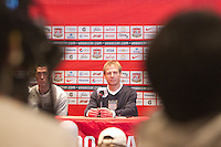 USA coach Jurgen Klinsmann speaks at a USA press conference with in Mexico City, Mexico on March 25, 2013.
