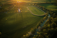 Aerial of private training track on Stone Farm, a Kentucky thoroughbred horse farm.