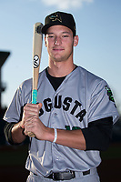 Augusta GreenJackets third baseman Jacob Gonzalez (18) poses for a photo prior to the game against the Greensboro Grasshoppers at First National Bank Field on April 10, 2018 in Greensboro, North Carolina.  The GreenJackets defeated the Grasshoppers 5-0.  (Brian Westerholt/Four Seam Images)