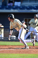 Vanderbilt Commodores infielder Dansby Swanson (7) at bat during a game against the Indiana State Sycamores on February 21, 2015 at Charlotte Sports Park in Port Charlotte, Florida.  Indiana State defeated Vanderbilt 8-1.  (Mike Janes/Four Seam Images)