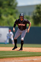 Jupiter Hammerheads Connor Grant (13) leads off during a Florida State League game against the Florida Fire Frogs on April 11, 2019 at Osceola County Stadium in Kissimmee, Florida.  Jupiter defeated Florida 2-0.  (Mike Janes/Four Seam Images)