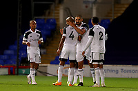 16th September 2020; Portman Road, Ipswich, Suffolk, England, English Football League Cup, Carabao Cup, Ipswich Town versus Fulham; Aleksandar Mitrovic of Fulham celebrates with Denis Odoi after he scored for 0-1 in the 38th minute