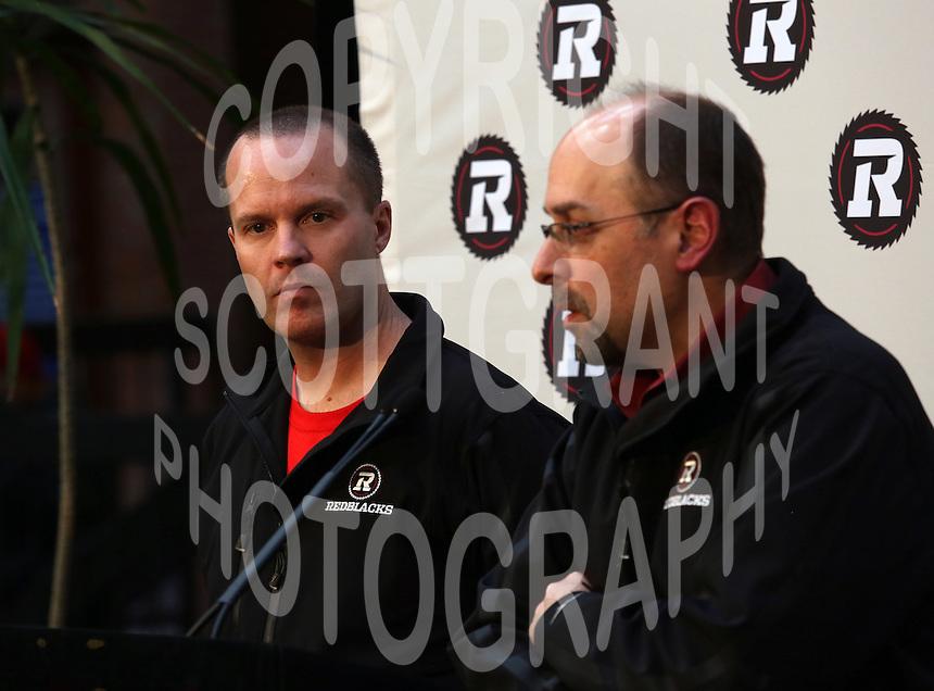 Head coach Rick Campbell GM Marcel Desjardins Ottawa RedBlacks 2013. Photo Scott Grant
