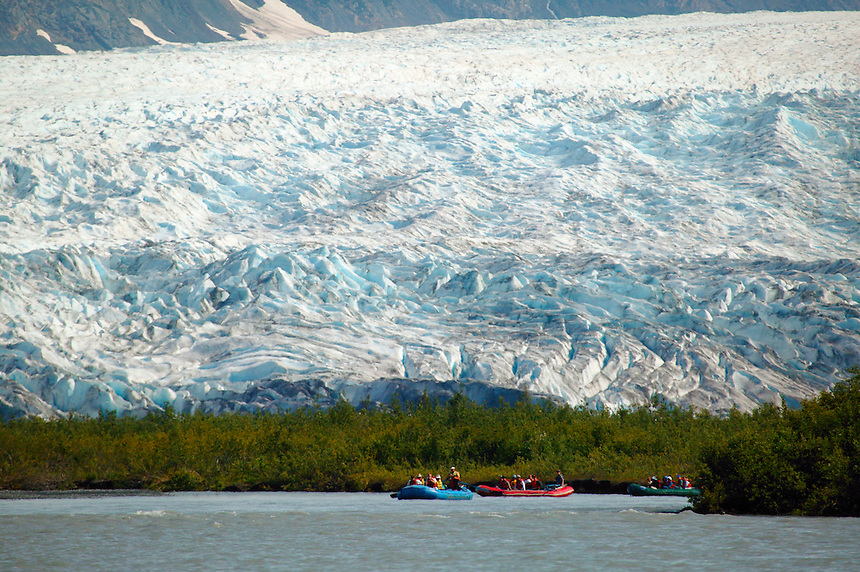 Rafting on the Placer River in front of Spencer Glacier, Chugach National Forest, Kenai Peninsula, Alaska. ..July 13, 2004 Porcaro / Alaska Railroad assignment