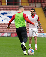 21st November 2020, Oakwell Stadium, Barnsley, Yorkshire, England; English Football League Championship Football, Barnsley FC versus Nottingham Forest; Michael Sollbauer of Barnsley warming up