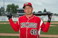 Batavia Muckdogs outfielder Victor Castro (40) poses for a photo during media day on June 10, 2014 at Dwyer Stadium in Batavia, New York.  (Mike Janes/Four Seam Images)