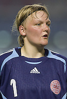 Denmark goalkeeper (1) Heidi Johansen. The Peoples Republic of China (CHN) defeated Denmark (DEN) 3-2 during their FIFA Women's World Cup China 2007 opening round Group D match at Wuhan Sports Center Stadium in Wuhan, China on September 12, 2007.