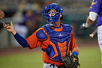 St. Lucie Mets catcher Matt O'Neill (5) gets a new ball from the umpire during a game against the Fort Myers Mighty Mussels on June 3, 2021 at Hammond Stadium in Fort Myers, Florida.  (Mike Janes/Four Seam Images)