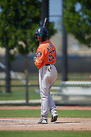 Houston Astros Jose Alvarez (57) bats during a Minor League Spring Training Intrasquad game on March 28, 2019 at the FITTEAM Ballpark of the Palm Beaches in West Palm Beach, Florida.  (Mike Janes/Four Seam Images)